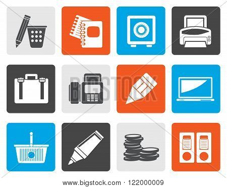 Flat Business, Office and Finance Icons - Vector Icon Set