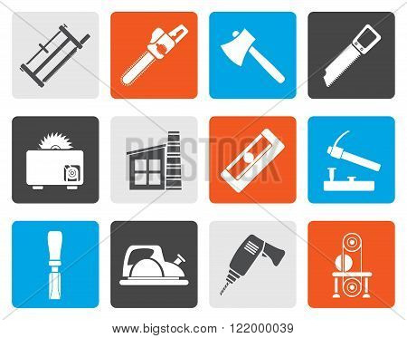 Flat Woodworking industry and Woodworking tools icons - vector icon set