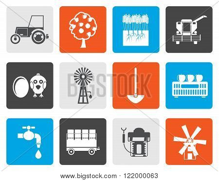 Flat farming industry and farming tools icons - vector icon set