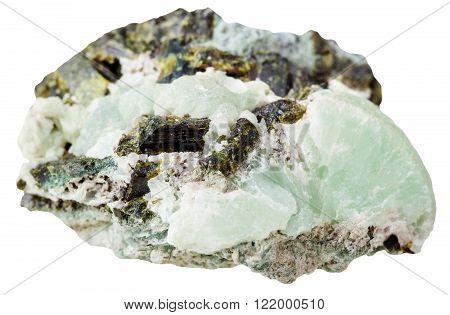 Epidote Crystals On Prehnite Mineral Stone