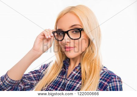 Beautiful Smiling Blonde Touching Glasses On White Background