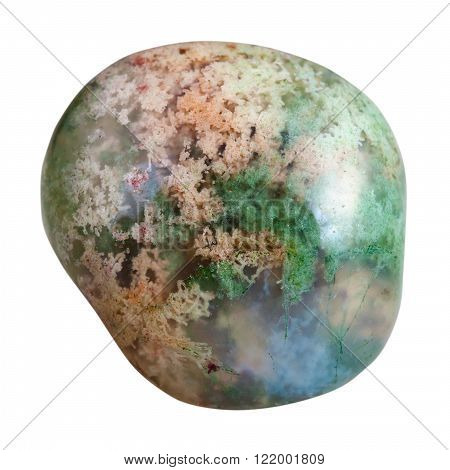 Polished Moss Agate Mineral Gem Stone Isolated