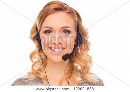 Portrait Of Cheerful Smiling Woman In Headphones With Microphone