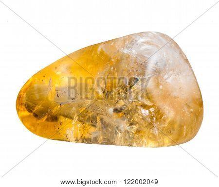Polished Citrine Mineral Gem Stone Isolated