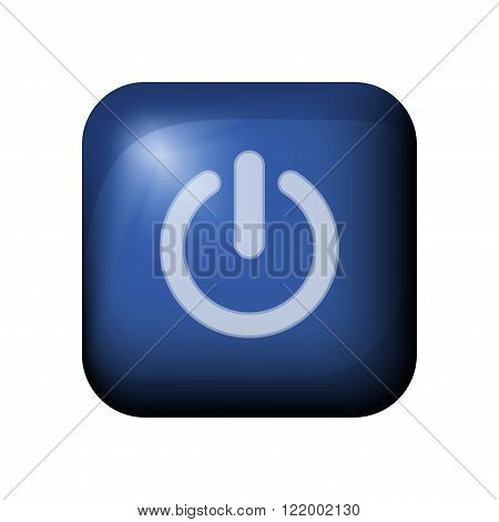 Blue Glossy Realistic Vector Power On/off Switch Button With Light Flare