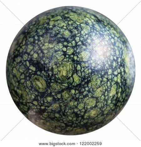 Ball From Green Serpentine Mineral Gemstone