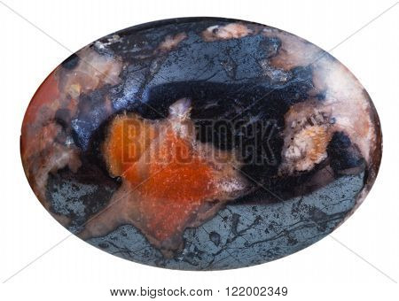 Cabochon From Mookaite With Hematite Gemstone