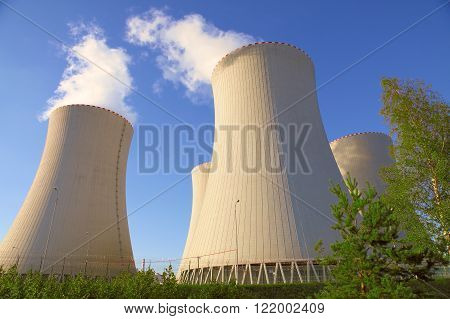Nuclear power plant and clear blue sky