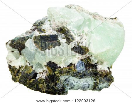 Green Prehnite Mineral Stone And Epidote Crystals