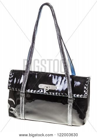 Handbag From Black Patent Leather Isolated