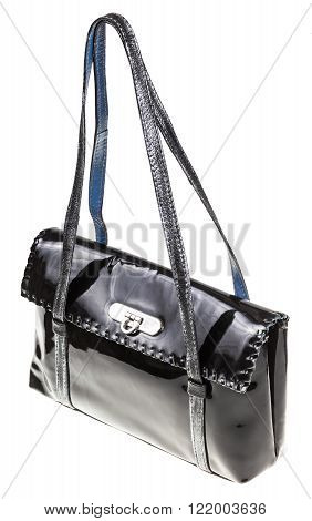 Purse From Black Patent Leather Isolated On White