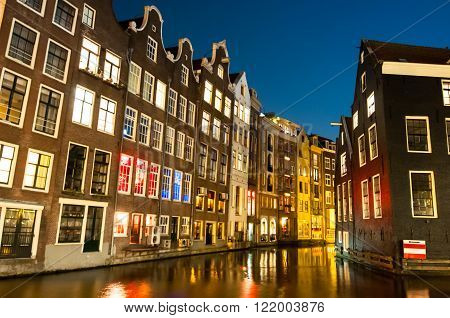 Red light district at night. Amsterdam the Netherlands.