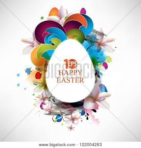 Easter egg. flower. swirls. ink splat elements eps10 vector background