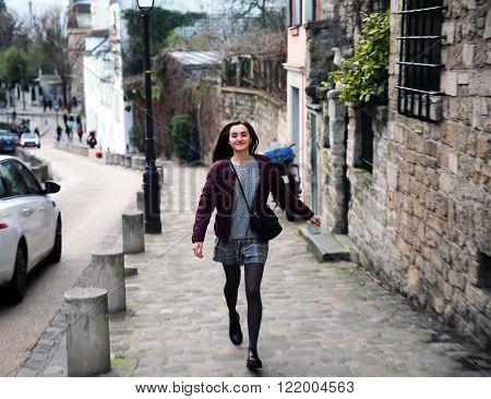 Portrait of beautiful girl on Montmartre in Paris France