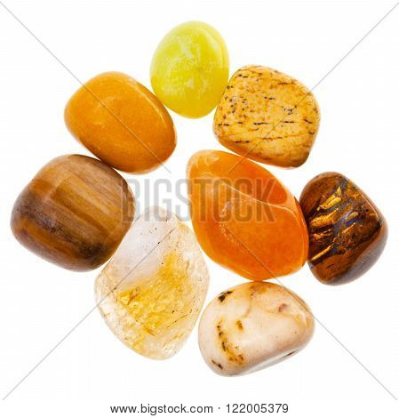 Pile Of Yellow And Brown Natural Mineral Gemstones