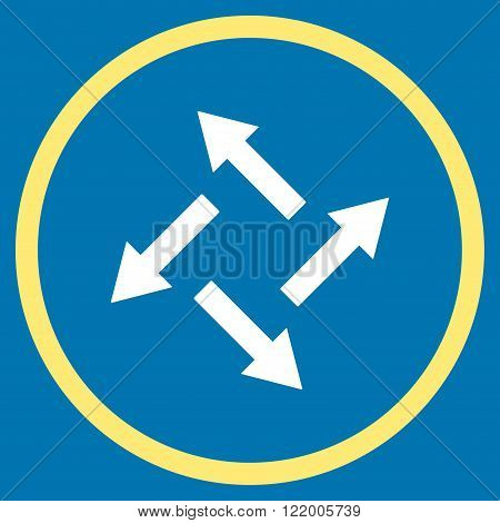 Centrifugal Arrows vector icon. Style is bicolor flat rounded iconic symbol, centrifugal arrows icon is drawn with yellow and white colors on a blue background.