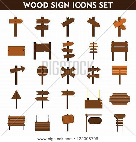 Wood sign icons set on white background. Flat icons. Cartoon signs.