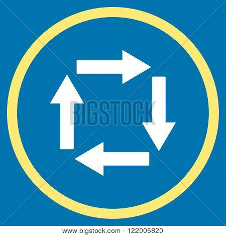 Circulation Arrows vector icon. Style is bicolor flat rounded iconic symbol, circulation arrows icon is drawn with yellow and white colors on a blue background.