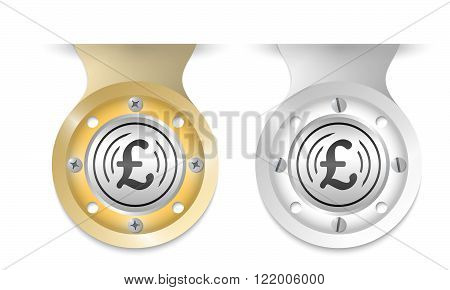 Golden and silver object and pound sterling icon