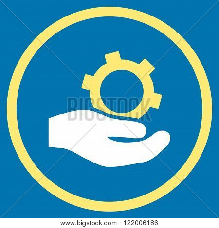Engineering Service vector icon. Style is bicolor flat rounded iconic symbol, engineering service icon is drawn with yellow and white colors on a blue background.