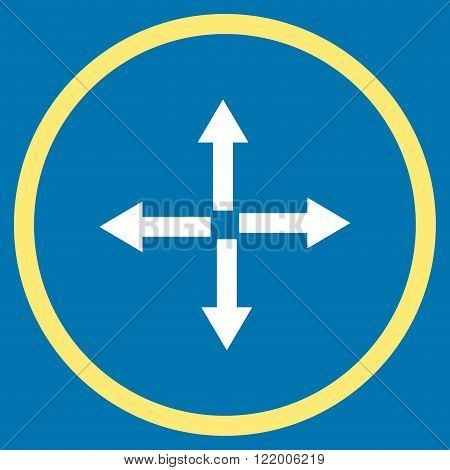 Expand Arrows vector icon. Style is bicolor flat rounded iconic symbol, expand arrows icon is drawn with yellow and white colors on a blue background.