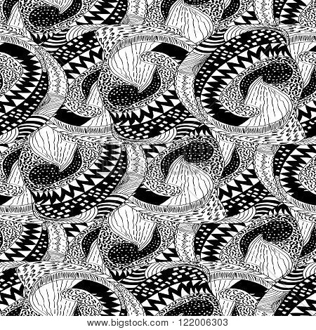 Seamless vector pattern of black and white sketched modules.