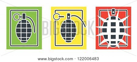 Grenade in action. Three stages. Vector. Isolated