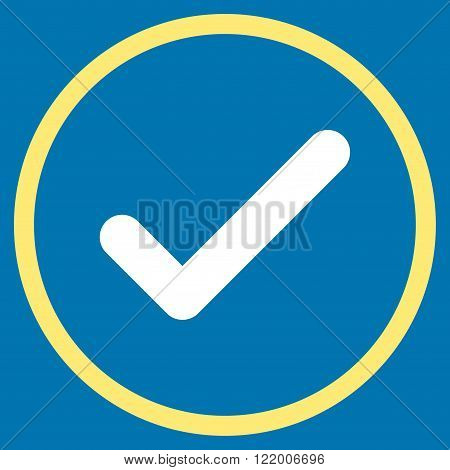 Ok vector icon. Style is bicolor flat rounded iconic symbol, ok icon is drawn with yellow and white colors on a blue background.