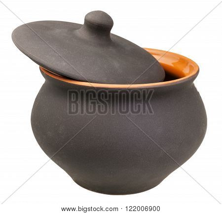 Ceramic Pot With Slightly Open Cover Isolated