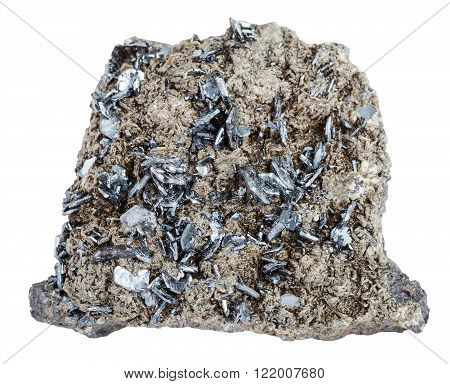 Piece Of Mineral Stone With Magnetite Crystals