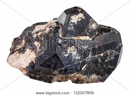 Black Spinel Crystal On Diopside Gemstone Isolated