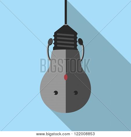 Hanging turned off burned dull gray light bulb character on blue with long shadow. Lightbulb idea creativity crisis power outage failure concept. EPS 8 vector illustration no transparency