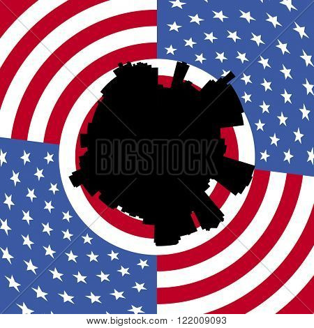 Birmingham circular skyline with American flag illustration