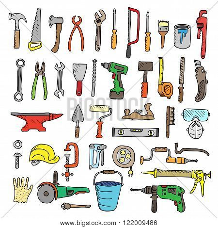 Construction tool collection - vector silhouette. Doodles. Isolated.