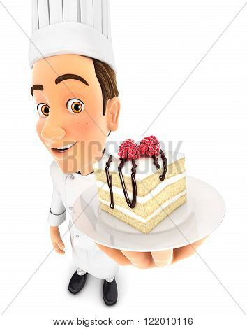 3d head pastry chef holding piece of cake isolated white background