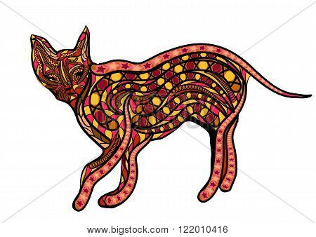ethnic ceylon cat. abstract silhouette isolated on white background