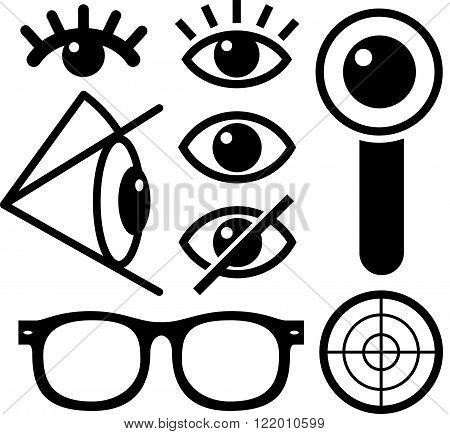 Human eye icons black on white lens eyewear survaillance.