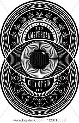Amsterdam the City of Sin sign. Black seal emblem on white. Two decorated overlapping circles with an eye in the middle. Erotic hallucination and drugs elements. Poster design tee graphic.
