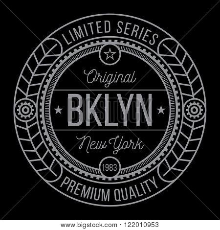 New York Brooklyn typography modern style seal t-shirt graphics