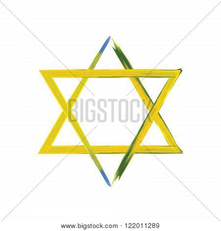 Star of David sign on white yellow and blue