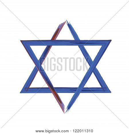 Star of David sign on white blue