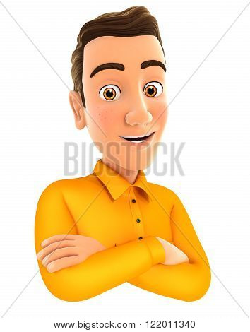 3d man with arms crossed isolated white background