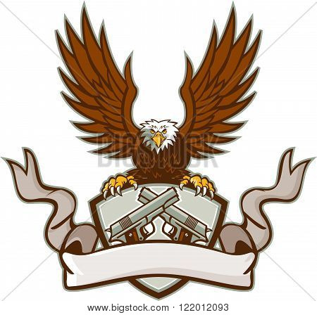 Illustration of a bald eagle holding a shield using its talons with crest containing a crossed 1911 semi-automatic .45 caliber pistol with scroll ribbon in front done in retro style.