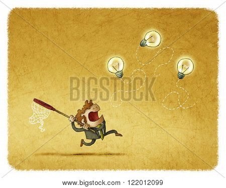 Businessman running with net while trying to catch idea bulbs.