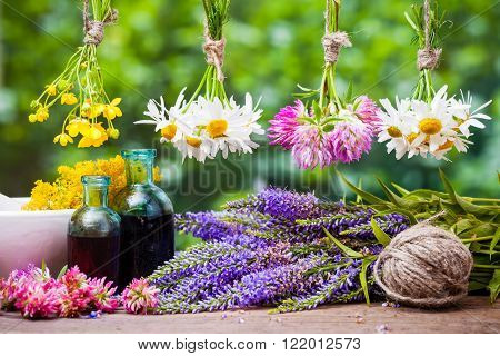 Hanging healing herbs bunches bottles of tincture and mortar with flowers. Herbal medicine.