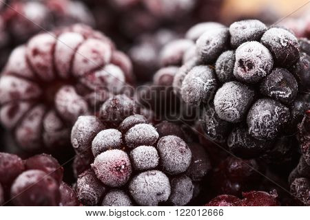 Close up view on frozen Blackberry fruits food background ** Note: Soft Focus at 100%, best at smaller sizes