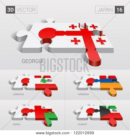 Japan and Georgia, Lebanon, Armenia, Oman, Kuwait Flag. 3d vector puzzle. Set 16.
