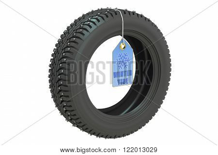 winter automotive tire isolated on white background