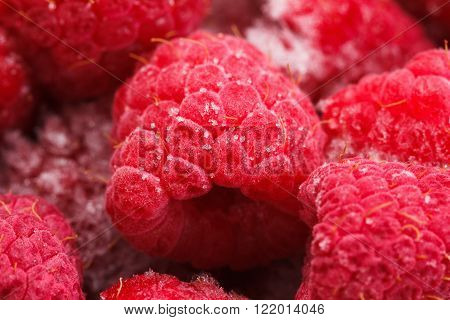 Macro view on frozen Raspberry fruits food background Raspberry ** Note: Shallow depth of field