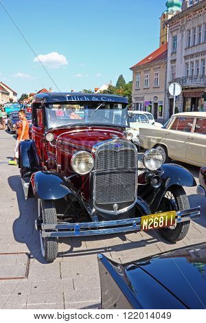 CROATIA SAMOBOR 17 JULY 2011: Ford Model A Deluxe Tudor ''14. Oldtimer Rally'' in Samobor Croatia